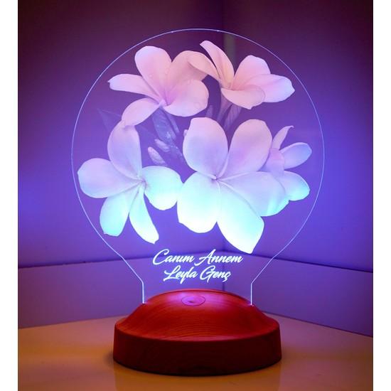 Sevgi Lambası Anneler Günü Hediyesi Plumeria Çiçeği LED Foto Lamba