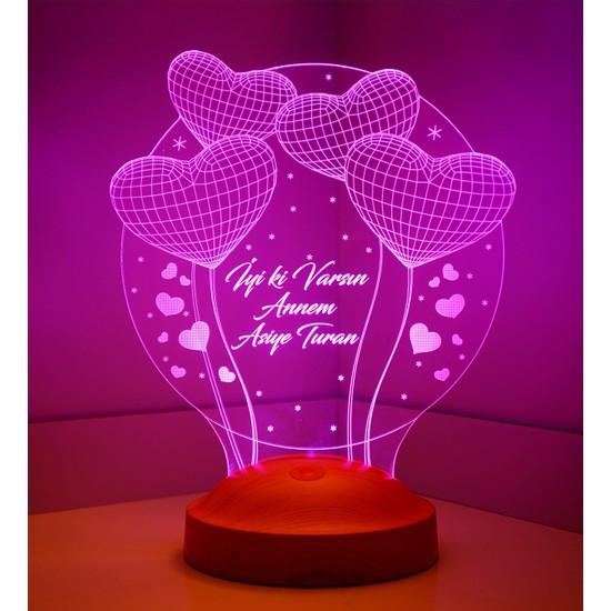 Sevgi Lambası Anneler Günü Hediyesi Balon Kalpler Küre 3D LED Lamba