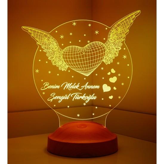 Sevgi Lambası Anneler Günü Hediyesi Kişiye Özel Kanatlı Kalp LED Lamba