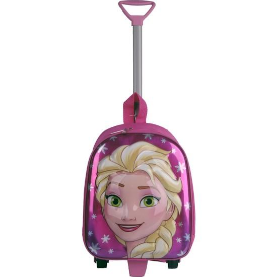 Frozen Elsa Kabartmalı Çekçekli Çocuk Okul Çantası Pembe 8116