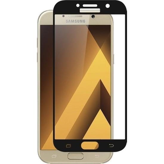 Casestore Samsung Galaxy A5 2017 Ultra Lüx Tam Kaplayan 3D Ekran Koruyucu Cam Siyah + Siyah Silikon Kılıf