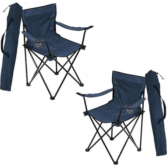 Bofigo 2 Adet Kamp Sandalyesi Katlanır Sandalye Bahçe Koltuğu Piknik Plaj Balkon Sandalyesi Mavi