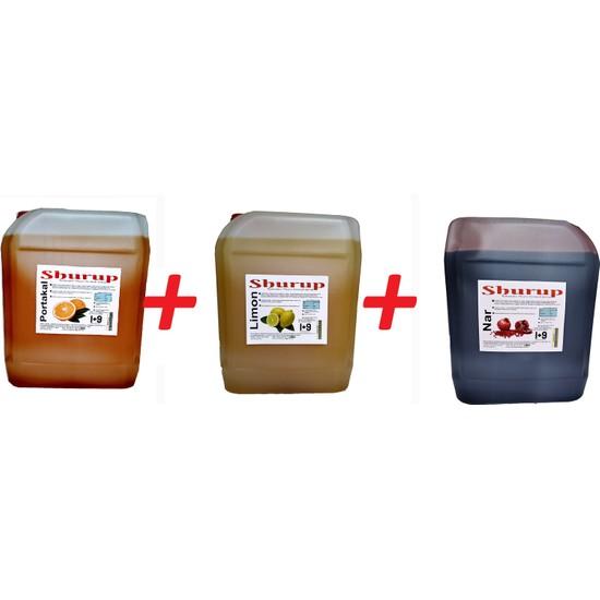 Shurup Konsantre Meyve Aromalı İçecek 6 kg Portakal + Limon + Nar ( 3' lü)
