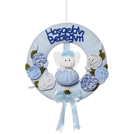 Baby Lüks Bebek Kapı Süsü - Tonton Bebek Odası Kapısüsü Çiçekli Mavi
