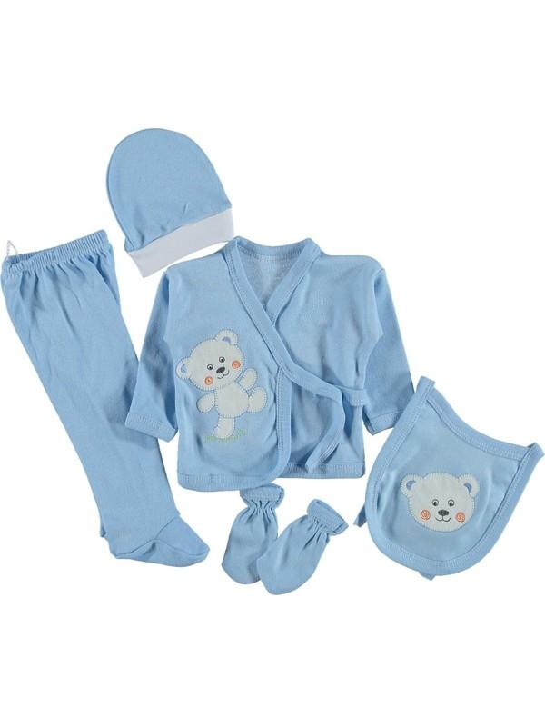 Burtaç Baby 5 Li Zıbın Seti Hastane Çıkışı Ayıcıklı Mavi