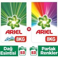 Ariel Dağ Esintisi Beyazlar İçin 8 kg + Parlak Renkler 8 kg Toz Çamaşır Deterjanı
