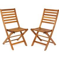 Hepsi Home 2 Adet Katlanır Sandalye Masif Ahşap Sandalye Balkon Sandalyesi Bahçe Sandalyesi Ahşap Sandalye