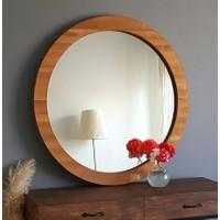 Neostill Doğal Ahşap Masif Çerçeve Dekoratif 80 cm Ayna