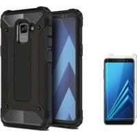 Tbkcase Samsung Galaxy A8 2018 Ultra Koruma Tank Kılıf Siyah + Cam Ekran Koruyucu