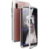 Tbkcase Huawei P20 Lite 360 Mıknatıslı Metal Kılıf Gümüş + Nano Ekran Koruyucu