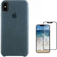 Tbkcase Apple iPhone XS Alcantra Süet Sert Kapak Kılıf Gri + Tam Kapatan Cam