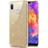 Tbkcase Samsung Galaxy M20 Shining Simli Silikon Kılıf Gold