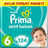 Prima Bebek Bezi Aktif Bebek 6 Beden Junior Aylık Fırsat Paketi Paket 124 Lü