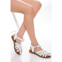Tarçın Deri Günlük Beyaz Kadın Sandalet Ayakkabı TRC61-3081