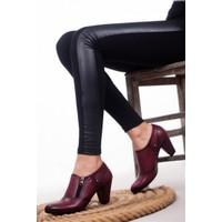 Tarçın Deri Günlük Bordo Kadın Topuklu Ayakkabı TRC50-1069