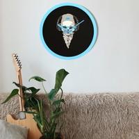 Muyi̇ka Testa Asciutta Blu Mavi Çerçeve Siyah Zemin Kuru Kafa 30 cm Duvar Saati