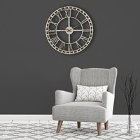 Muyi̇ka Yando Metal Beyaz Eskitme Duvar Saati 50X50CM