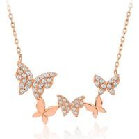 Serpil Jewellery Rose Rengi Uçuşan Kelebekler Gümüş Kolye