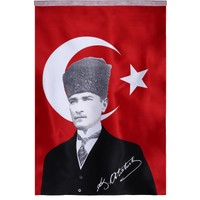 Koşan Türk Bayrağı Atatürk Posterli 100 x 150 cm