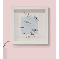 Saydam Kuşlar Martılar Minimal Modern Tablo Derinlikli Beyaz Çerçeveli