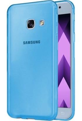 Kılıfist Samsung Galaxy A7 2017 Kılıf A720 İnce Şeffaf Silikon Kılıf Turkuaz + Ekran Koruyucu Cam