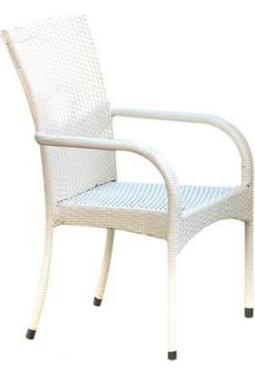 Rem Rattan Sandalye Beyaz-YP1336