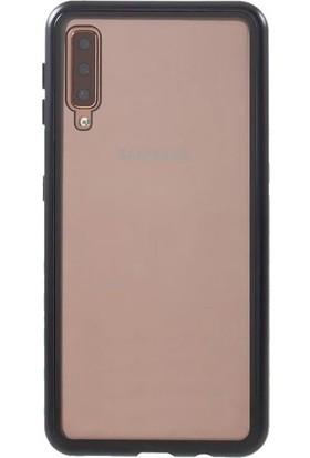 Teleplus Samsung Galaxy A50 Kılıf Metal Çerçeve Mıknatıslı 360 Kapak Siyah