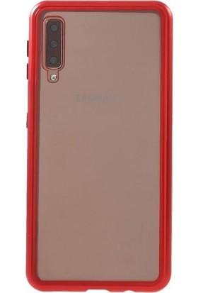 Teleplus Samsung Galaxy A50 Kılıf Metal Çerçeve Mıknatıslı 360 Kapak Kırmızı