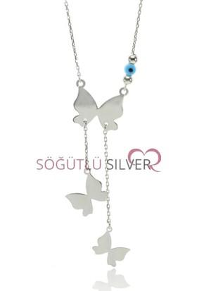 Söğütlü Silver ENT-SGTL7557 Uçuşan Kelebekler Kolyesi