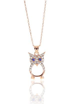 Söğütlü Silver Gümüş Rose Zirkon Taşlı Baykuş Kolye Kolye