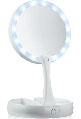 Xolo LED Işıklı Sihirli Ayna Fold Away Makyaj Aynası Çift Taraflı Büyüteçli Masa Makyaj Rimel Far Ruj