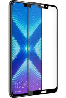 Case Street Huawei Honor 8C Full Kapatan Renkli Cam Tam Koruma Siyah