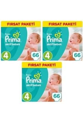 Prima Aktif Bebek 4 Numara Fırsat Paketi 66 x 3=198 Adet