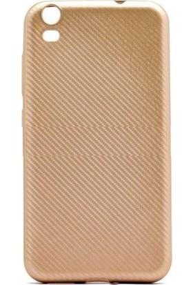 Tbkcase Vestel Venüs V5 Karbon Silikon Kılıf Gold