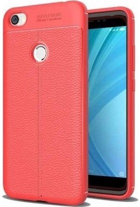 Tbkcase Xiaomi Redmi Note 5A Prime Deri Dokulu Silikon Kırmızı