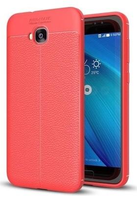 Tbkcase Asus ZenFone 4 Selfie (ZB553KL) Deri Dokulu Silikon Kılıf Kırmızı