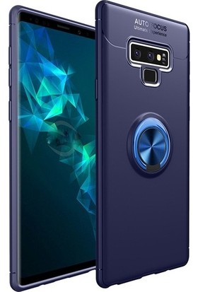 Tbkcase Samsung Galaxy Note 9 Ravel Yüzüklü Silikon Kılıf Lacivert + Tam Kapatan Cam