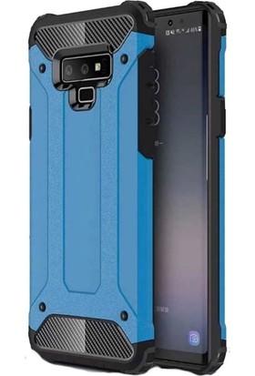 Tbkcase Samsung Galaxy Note 9 Çift Katmanlı Tank Kapak Kılıf Mavi