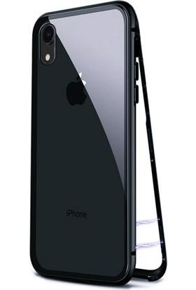 Tbkcase Apple iPhone XR 360 Mıknatıslı Metal Kılıf Siyah + Tam Kapatan Cam