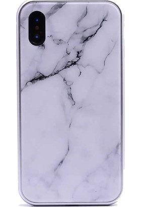 Tbkcase Apple iPhone XS Max (Plus) Mermer Desenli 360 Mıknatıslı Metal Kılıf Beyaz + Tam Kapatan Cam