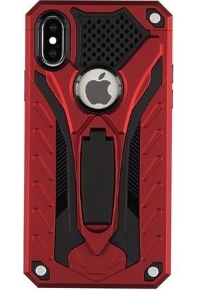 Tbkcase Apple iPhone XS Kickstand Tank Kapak Kılıf Kırmızı + Nano Ekran Koruyucu