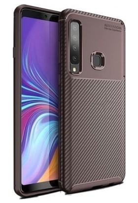 Tbkcase Samsung Galaxy A9 2018 Ultra Koruma Negro Silikonlu Kılıf Kahverengi + Tam Yapışan Cam