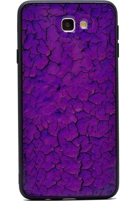 Tbkcase Samsung Galaxy J7 Prime Pane Mermer Desenli Silikon Kılıf Mor + Nano Ekran Koruyucu