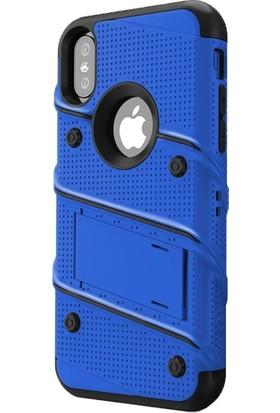 Tbkcase Apple iPhone XS İron Standlı Tank Kapak Kılıf Mavi + Nano Ekran Koruyucu