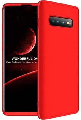 Tbkcase Samsung Galaxy S10 360 Full Koruma Sert Kapak Kılıf Kırmızı