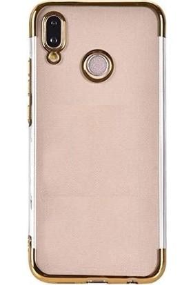 Tbkcase Huawei Honor Play Lüks Lazer Silikon Kılıf Gold + Tam Kapatan Cam