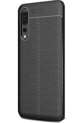 Tbkcase Xiaomi Mi9 Deri Dokulu Silikon Kılıf Siyah + Nano Ekran Koruyucu