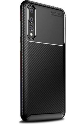 Tbkcase Xiaomi Mi9 Negro Karbon Silikon Kılıf Siyah + Tam Kapatan Cam