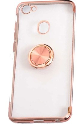 Tbkcase Casper Via G3 Lazer Yüzüklü Silikon Kılıf Rose Gold + Nano Ekran Koruyucu