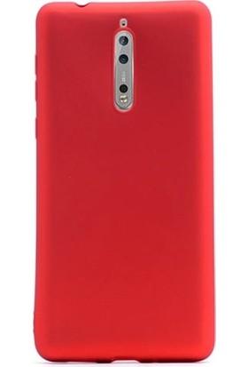 Ehr. Nokia 8 Priming Mat Silikon Arka Kapak Kılıf Kırmızı + Nano Ekran Koruyucu